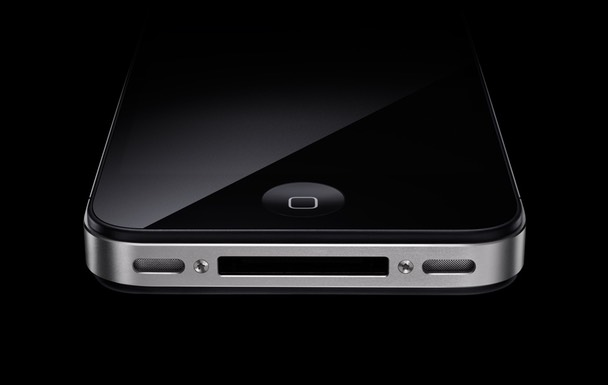 Black and white iPhone 4 models at 30-degree angles.